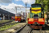 Locomotives On The Railway In The Roundhouse Of Yelets, Russia