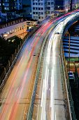 City night scene with cars light in Hong Kong, Asia.