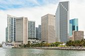 MIAMI,USA - MAY 27,2014 : The skyline of downtown Miami with  big modern yachts on Biscayne Bay