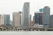 MIAMI,USA - MAY 27,2014 : The skyline of downtown Miami with  bridges crossing Biscayne Bay