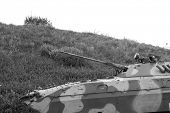 Military tank in black and white