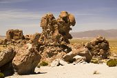 Amazing stone structures made by wind in Uyuni desert.
