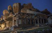 Ruins at night, opposite to Virupaksha - Vijayanagar Temple - at Hampi temple complex in India