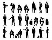 Big Set Businessmen Standing And Seated Silhouettes