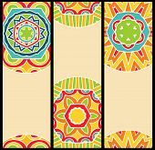 Bright Ethnic Patterns At Set Of Cards