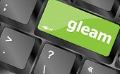 Gleam Word On Computer Pc Keyboard Key