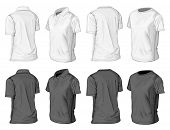 Men's short sleeve polo-shirt and t-shirt design templates (half-turned views). Vector illustration.