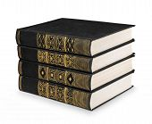 Stack Of Vintage Book Black With Gold Pattern On A White Background Isolation