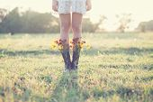 picture of boot  - Creative bouquet with yellow  flowers in boots - JPG