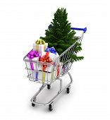Shopping Cart with gift boxes isolated on white background