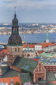 stock photo of dom  - View over Riga and the tower of the dom - JPG
