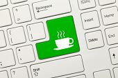 White Conceptual Keyboard - Coffee Cup (green Key)