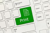 White Conceptual Keyboard - Print (green Key)