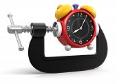 Alarm Clock in clamp (clipping path included)