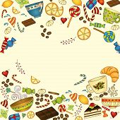 Tea, Coffee And Sweets Doodle Template Pattern.