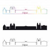 Dijon Skyline Linear Style With Rainbow