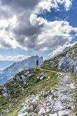 Hiker At Norkette Mountain, Innsbruck, Austria.