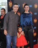 LOS ANGELES - OCT 12:  Esai Morales, Elvimar Silva & Mariana Oliveira Morales arrives to the