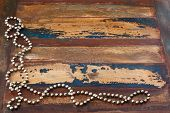 Background Wooden Table With Christmas Chaplet