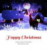 image of rudolph  - Happy Christmas against snow covered village under full moon - JPG