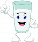 Cartoon glass of milk giving thumb up