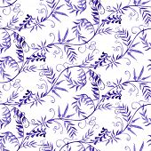 Watercolor vector seamless pattern with wild vetch
