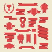 Red ribbons, medal, award, cup set. Vector.
