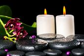 Spa Concept Of Flower Orchid, Phalaenopsis, Candles, Beads On Zen Basalt Stones With Drops, Closeup