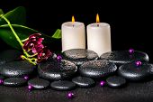 Beautiful Spa Concept Of Flower Orchid, Phalaenopsis, Candles, Beads And Zen Basalt Stones With Drop