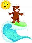 Happy brown bear cartoon surfing