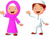 picture of muslim kids  - illustration of Happy Muslim kid cartoon isolated on white - JPG