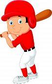 Cartoon boy playing baseball