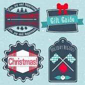 Christmas Badges, Labels, Stickers In Retro Style Vector