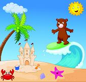 Happy bear cartoon surfing