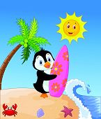 Happy penguin cartoon holding surfboard