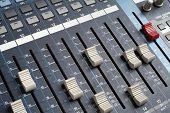Professional audio mixing console. Recording studio equipment.