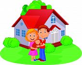 Young couple with newborn son in front of the house