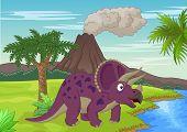 Prehistoric scene with triceratops cartoon