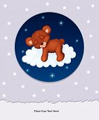 Baby bear sleeping on cloud