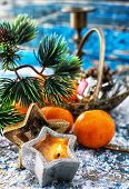 pic of tangerine-tree  - Christmas decorations with Christmas tree,candles and tangerines