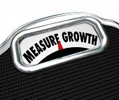 Measure Growth words on a scale weighing the level of your increase, improvement, rise, surge or boost to achieve success and goals