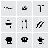 Vector black barbecue icon set