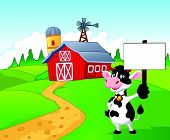 stock photo of dairy barn  - illustration of Cartoon cow holding blank sign with farm background isolated on white - JPG