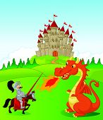 pic of jousting  - illustration of Cartoon knight with fierce dragon isolated on white - JPG