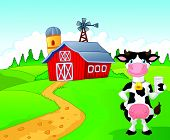 Cartoon cow holding a glass of milk with farm background