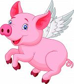 Cute pig cartoon flying