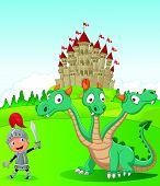 stock photo of dragon head  - illustration of Cartoon knight with three headed dragon - JPG