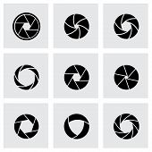 Vector black canera shutter icon set