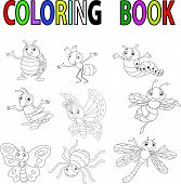 stock photo of summer insects  - illustration of Funny cartoon insect coloring book vector - JPG