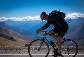 cyclist in french alps